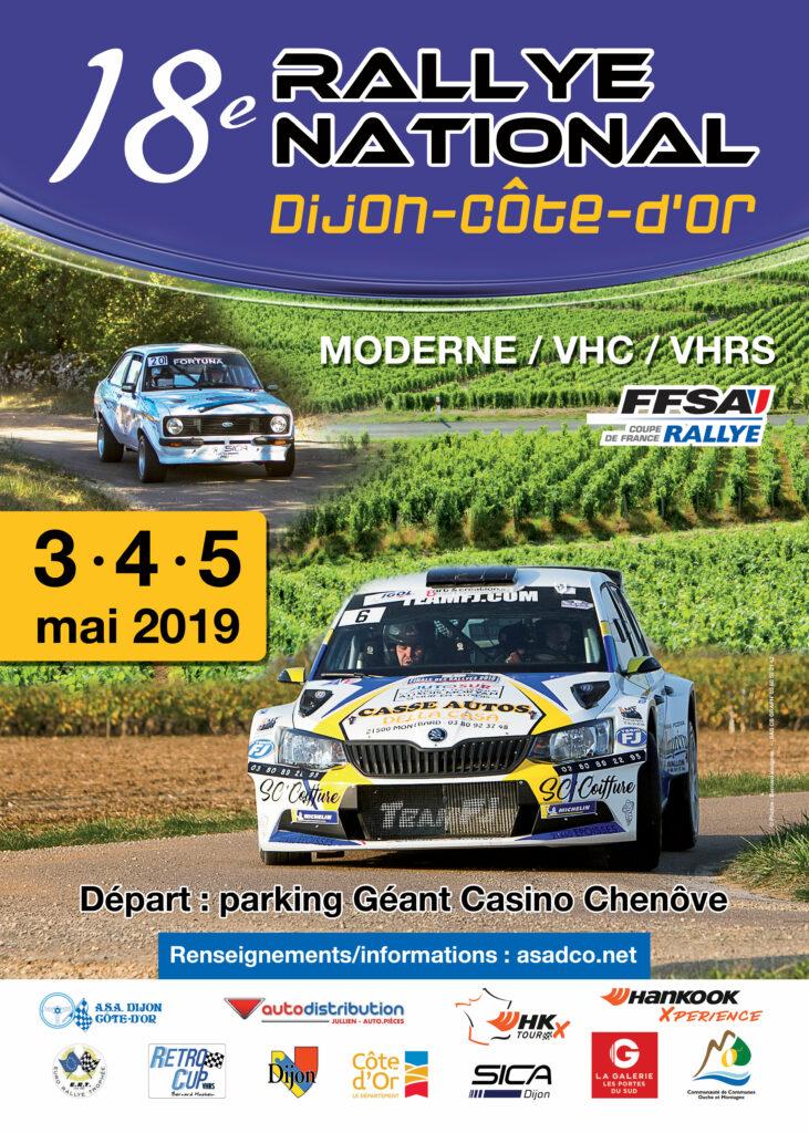 affiche du 18e Rallye National Dijon-Côte d'Or